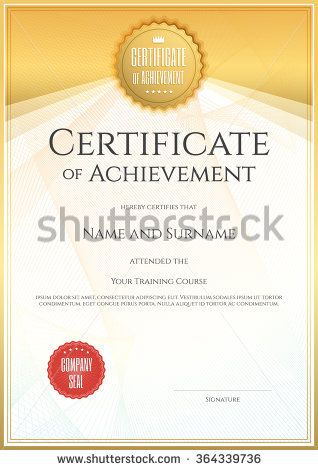 Certificate template in portrait and vector format for achievement graduation completion