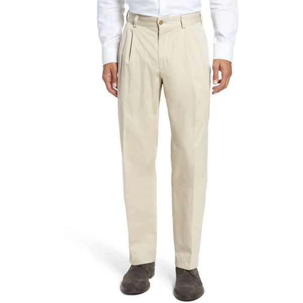 Men's Bills Khakis Classic Fit Pleat Front Chamois Cloth Pants ($165) ❤ liked on Polyvore featuring men's fashion, men's clothing, men's pants, men's dress pants, khaki, mens dress pants, mens khaki dress pants, mens pants and mens khaki pants