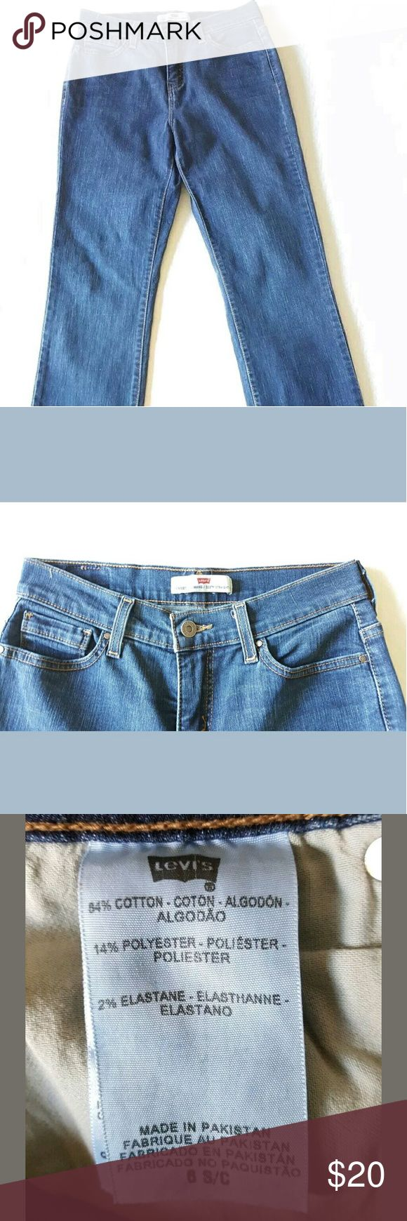 Women's Levis 512 Perfectly Slimming Blue Jeans Women's Levis 512 Perfectly Slimming Blue Denim Jeans- Size 6S  Nice gold tone embellishment on rear pockets. Levi's Jeans