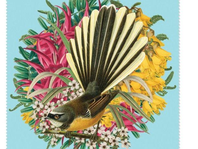 NZ fantail w/ native kowhai, kaka beak, manuka flowers