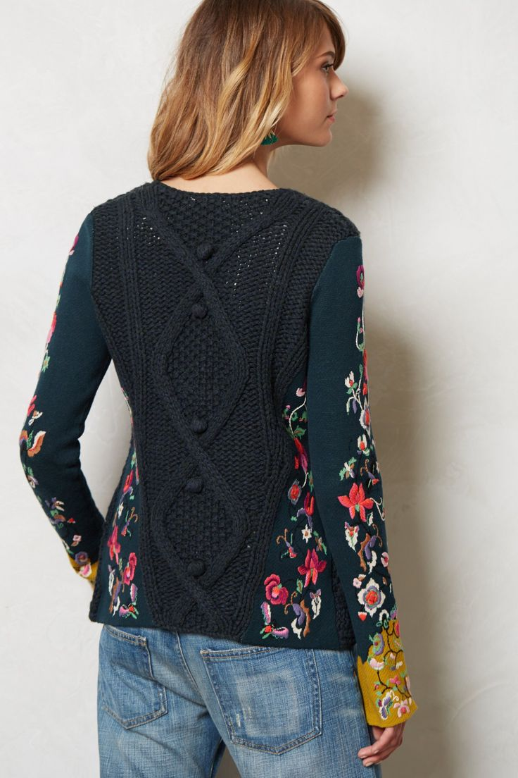 Anthropologie - Stitched Flora Cardigan - by Sleeping on Snow