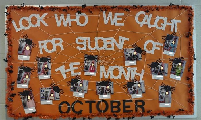 Look Who We Caught For Student of the Month! - Halloween Bulletin Board