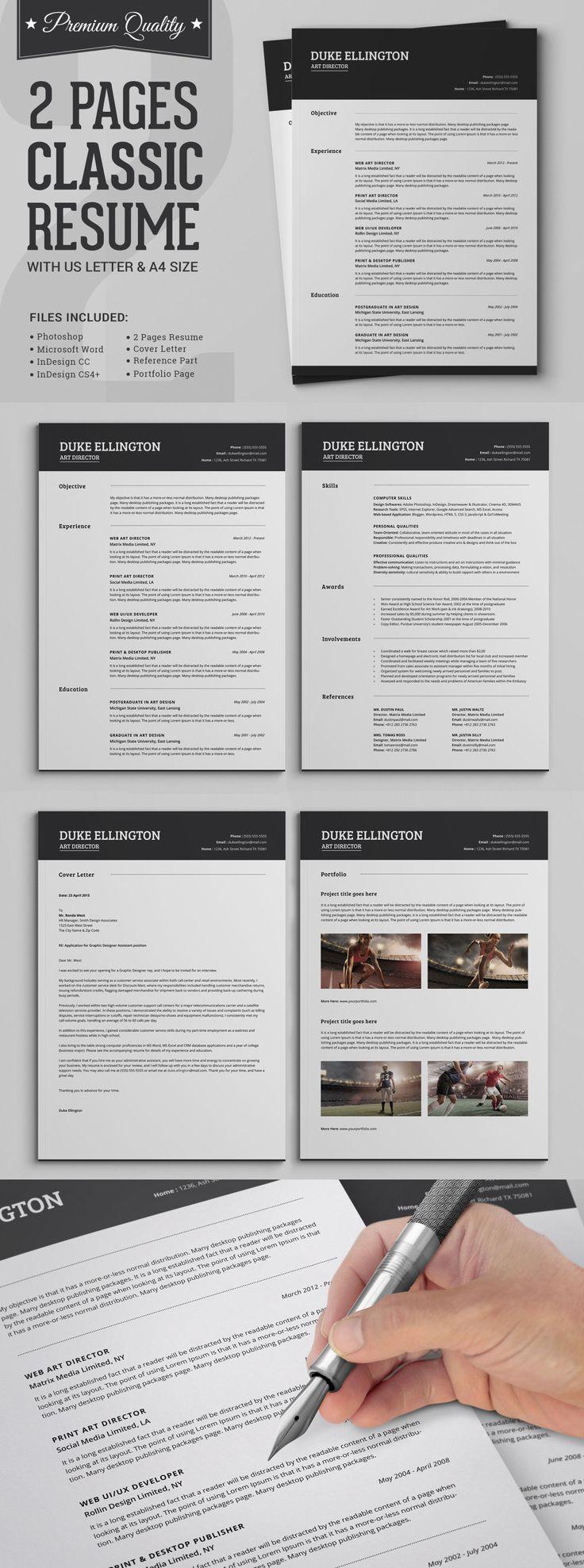 17 best ideas about cv classique citroen com two pages classic resume cv set template indd psd docx