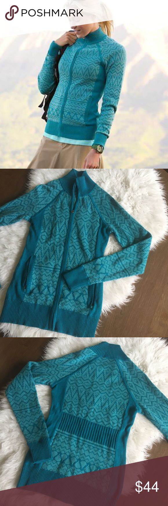 """Athleta NWOT Sky Camp Zip Up Sweater Jacket Teal zip up in a thick stretchy sweater material. New without tags. 💫 Smoke free home. Offers are welcome though the """"offer"""" button. No negotiations in the comments. No trades/holds/modeling requests, please. 1 day average ship time. Bundle multiple items for a discount and only pay for shipping once! Athleta Jackets & Coats"""