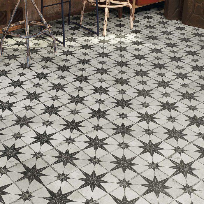 Royalty Estrella 17 63 X 17 63 Ceramic Patterned Tile In Off White Black Elitetile Durable Tiles Flooring