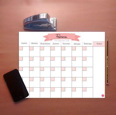Planificador mensual descargable gratuito para organizar cada mes color rosa y blanco minimalista imprimible - plannerlife planner planificador agenda  ~ The Optimistic Side