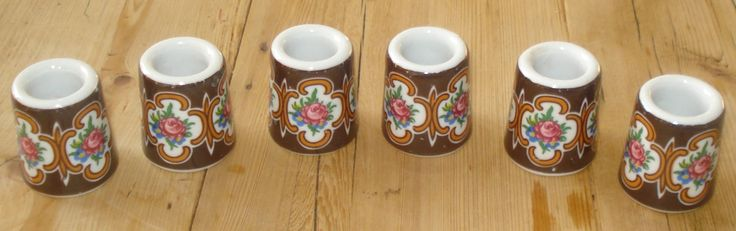 Vintage mini candle holders, set of 6, candle sticks, porcelain, '70s, brown door MyVintageAndMore op Etsy