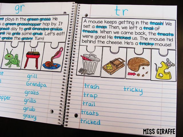 Phonics Fluency Notebooks - Blends practice!! Read the fluency passage and highlight the words with the beginning blend at the top, sequence the events... so much practice!