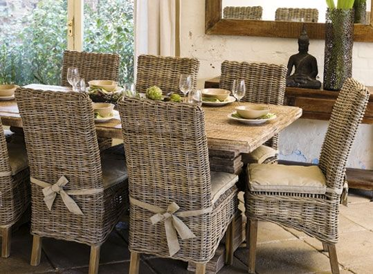greige, wicker, dining, parsons chair, stone top table, rustic, cottage, limestone floor, furniture, decorating