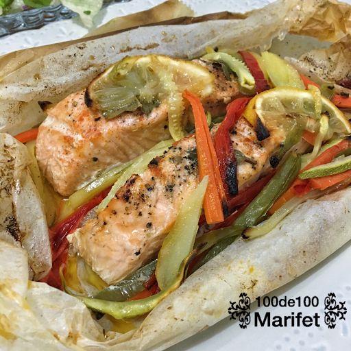 100de100 Marifet: Kağıtta Sebzeli Somon Balığı Tarifi