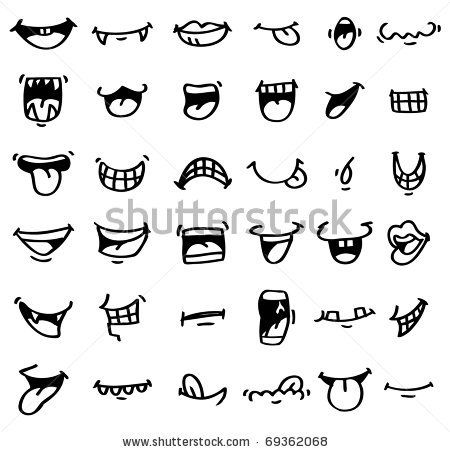 stock vector : hand draw cartoon mouth icon