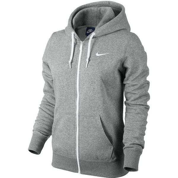 Nike Club Fleece Full-Zip Hoodie Gray ($50) ❤ liked on Polyvore featuring activewear, activewear tops, tops, nike activewear, nike and nike sportswear