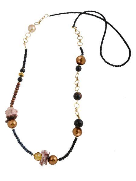 Χειροποίητο κόσμημα, κολιέ από επιχρυσωμένο ασήμι 925ο με πέρλες 15mm, αλυσίδα απο επιχρυσωμένο μπρούντζο, ζάμα, μαύρο όνυχα ταγιέ 10 και 14mm, κρύσταλλα και καφέ μαργαριτάρια @ http://www.theodorajewellery.com/jewel/gr/2021/ Τιμή 45€  Handmade jewelry, gold plated silver necklace 925o with pearls 15mm, gold plated bronze, suede cord, braided chain, zama, crystals and black onyx 10 and 14mm and brown fresh water pearls @ http://www.theodorajewellery.com/jewel/en/2021/ Price 45€