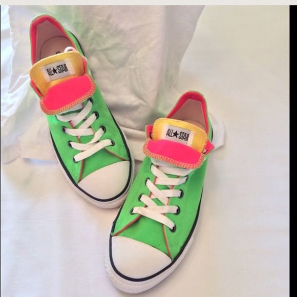 HP 3-Color Neon Converse Low Tops Sz 7 Very minimal signs of wear. Sz 5 in men's / 7 in women's Converse Shoes Athletic Shoes