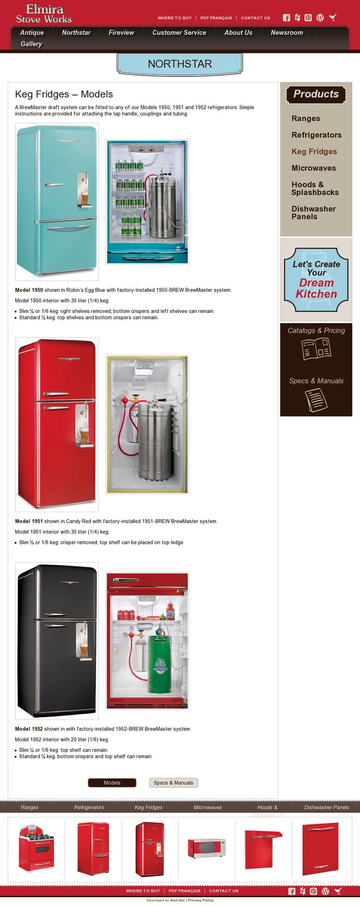 Keg fridges and their specs by Elmira Stove Works