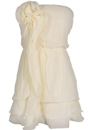 Rosette Waterfall Layered Ivory Blouson Dress www.lilyboutique.com