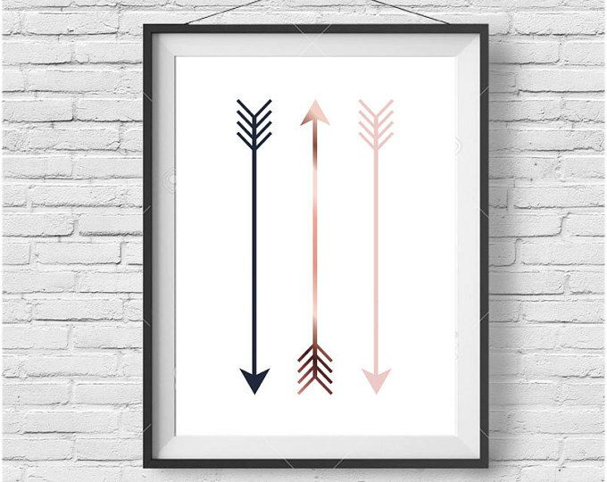 Arrow Print, Tribal Art, Nursery Printable, Digital Wall Art, Scandinavian Print, Minimalist, Modern Decor, Copper Art, Navy & Blush