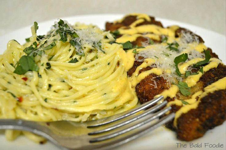 """""""Spaghetti con Aglio e Olio d'Oliva e Petti di Pollo Impanati con Arrosto Aioli Aglio Limone""""! Read the translation and more about this classic Italian dish on facebook.com/BaldFoodie"""