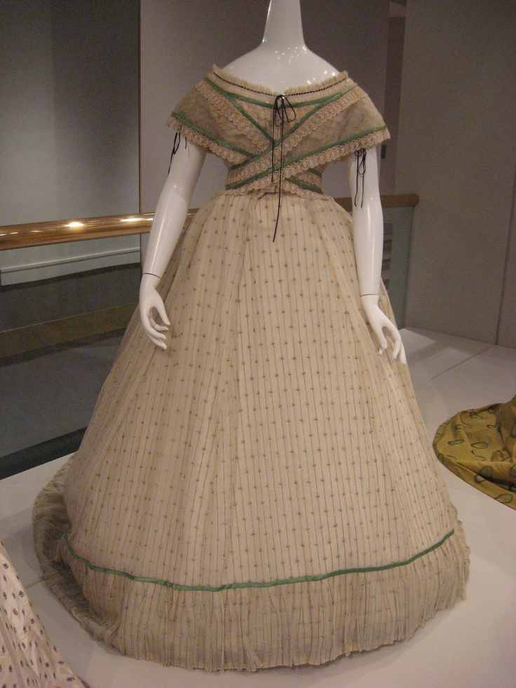 2012-08-25 KSMF -  Ivory and green striped cotton tarlatan and silk dress, circa 1865.
