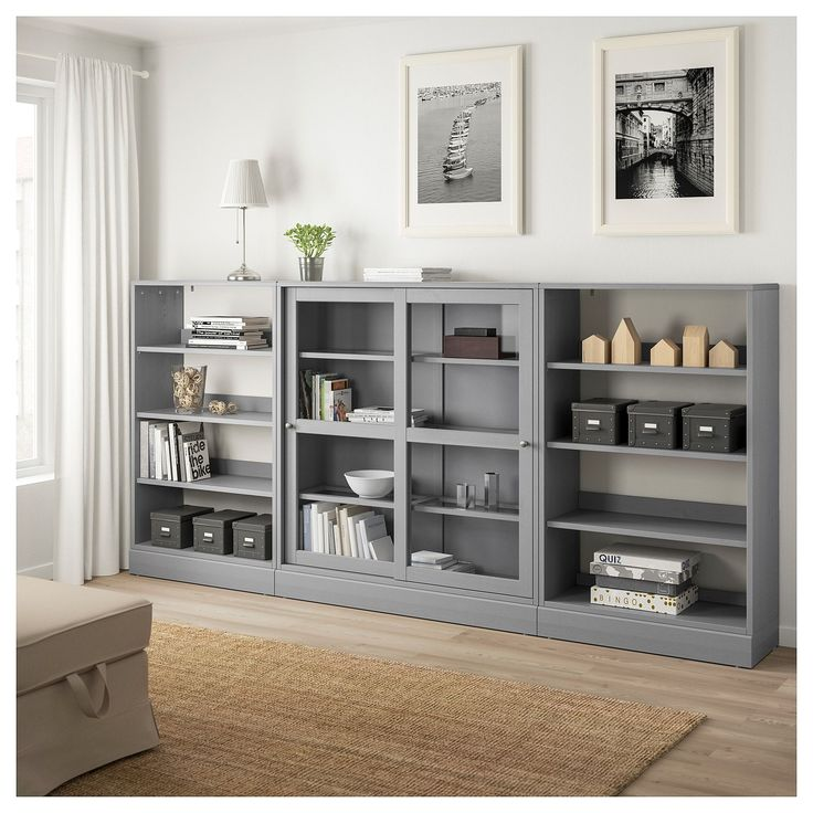 HAVSTA Storage With Sliding Glass Doors Gray
