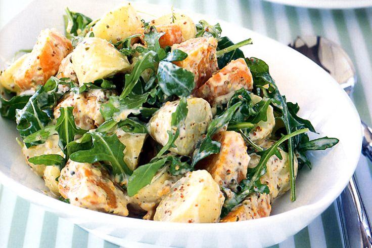 Sweet potato and potatoes unite to make the ultimate creamy salad.