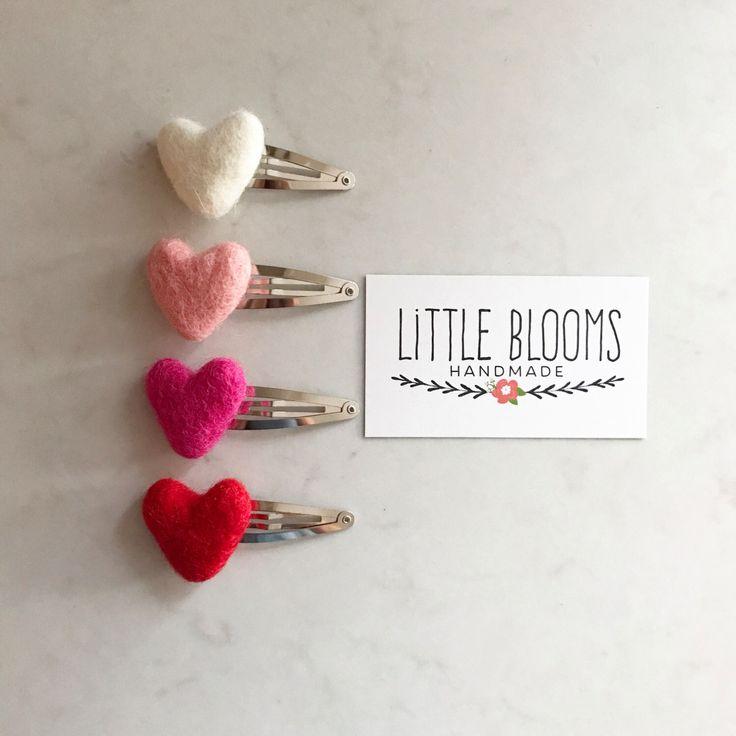 Felted Hearts - Hair Clip or Nylon Headband by LittleBloomsHandmade on Etsy https://www.etsy.com/listing/505521555/felted-hearts-hair-clip-or-nylon
