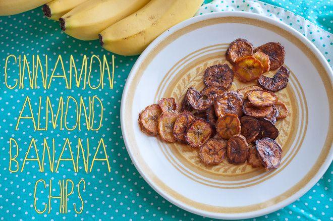 Homemade Cinnamon Almond Banana Chips Recipe…: Almonds, Homemade Banana Chips, Cinnamon Almond, Bananas, Healthy Snack, Chips Recipe, Homemade Cinnamon