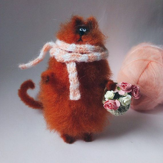 Knitted red cat от WhatMyToy на Etsy