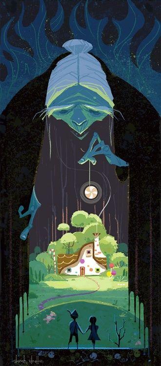 art, illustration, figure, woman, holding, looking down, child, girl, boy, moon, house, tree, landscape, design, frame, witch, fairy tale, Hansel and Gretel, Derek Stratton