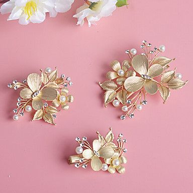 Women's / Flower Girl's Pearl / Rhinestone / Alloy Headpiece-Wedding / Special Occasion Hair Clip 3 Pieces 5005327 2016 – $13.99