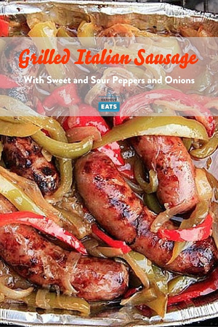 The key to perfectly cooked sausages on the grill is to start them in a moist bath of flavorful toppings, slow cooking them to infuse them with flavor and get an even cook, then finishing them off over the hot side to crisp and char them.
