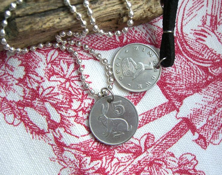Hare necklace, Fertility symbol, Lucky charm, African jewelry, Zimbabwe coin, For her, Men's necklace, Rabbit necklace, 1980, 1982 by IceMaidens on Etsy https://www.etsy.com/listing/522406542/hare-necklace-fertility-symbol-lucky