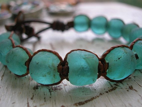 Beachy wrap bracelet - Beachcomber - Boho jewelry leather sea glass starfish nautical, SELECT your COLOR chunky bracelet beach jewelry