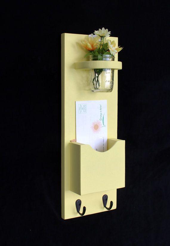 Mail Organizer - Letter Holder - Mail Holder - Mail Sorter - Key Hooks - Key Rack - Jar on Etsy, $29.95