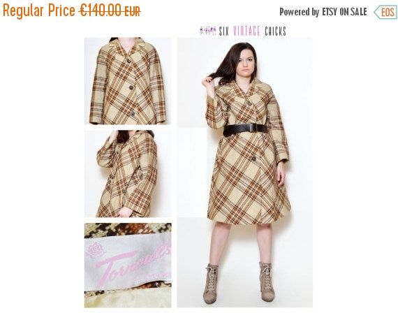VALENTINES DAY SALE Vintage Retro Style Coat 60's beige plaid coat Retro Style,  Vintage Woman's Outherwear Size M/L/38/40 Free Shipping by SixVintageChicks on Etsy