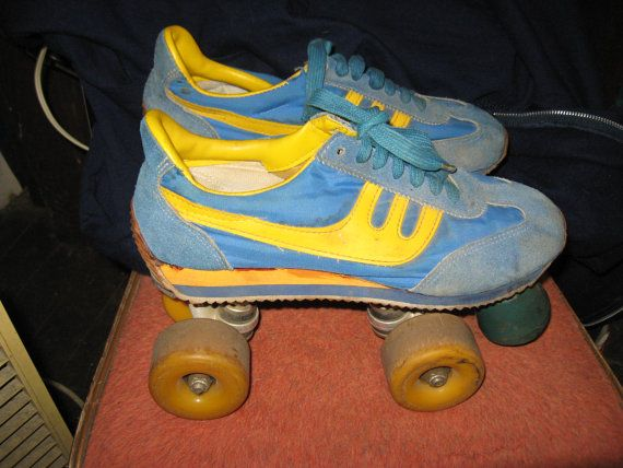 1970 cool blue yellow leather tennis shoes roller