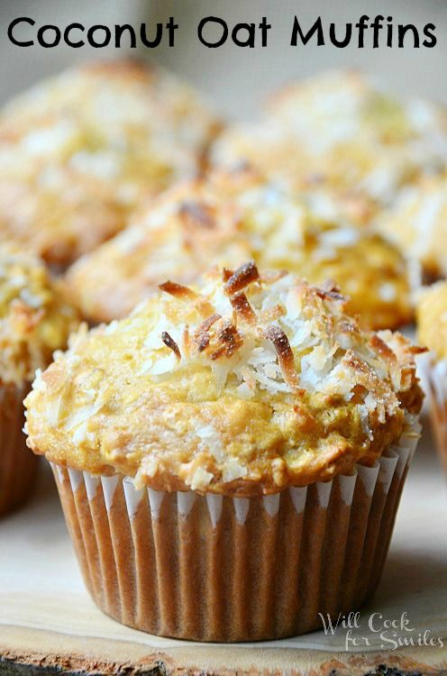 Coconut Oat Muffins | soft, moist and delicious muffins packed with coconut and baked with agave syrup | from willcookforsmiles.com