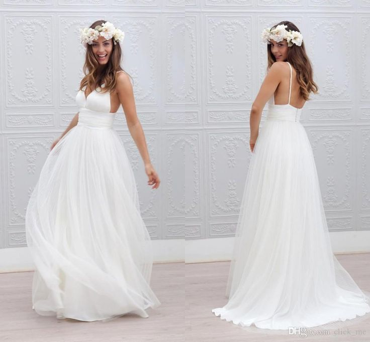 Long Wedding Dresses 2015 Wedding Dresses Cheap V Neck Spaghetti Strap Pleats White Dress Wedding Gowns Zipper Back A Line Tulle Simple Beach Wedding Dresses Beach Wedding Dresses From Click_me, $128.09| Dhgate.Com
