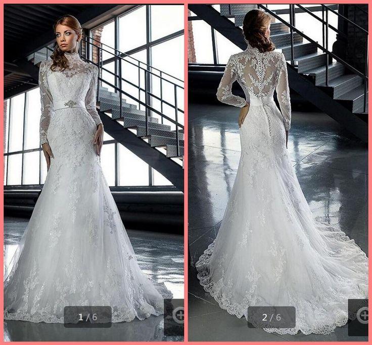Арабском стиле свадебные платья 2016 высокая шея длинные рукава кружева белый…