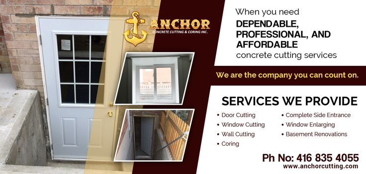 ANCHOR CONCRETE CUTTING & CORING INC.is one of the best #concrete_cutting and #coring_services provider in and around Brampton.  #Concrete_Cutting_Toronto #Concrete_Cutting_Brampton #Concrete_Cutting_Services  We provided various services:   DOOR CUTTING  WINDOW CUTTING  WALL CUTTING  CORING  COMPLETE SIDE ENTRANCE  WINDOW ENLARGING  BASEMENT RENOVATIONS   For more information call us:  416-835-4055