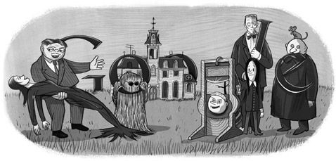 Charles Addams' 100th Birthday (The Addams Family) Google Doodle January 7, 2012
