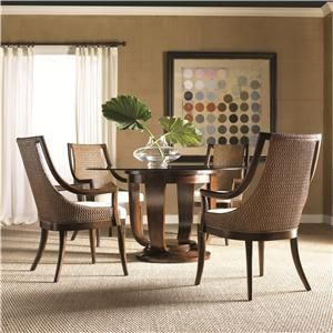Artistica Paragon Five Piece Round Glass Top Single Pedestal Dining Table Contemporary Woven Back Arm