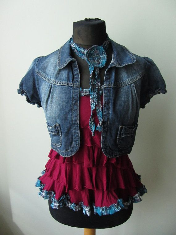 Upcycled Cropped Denim Jacket with Maroon Red Ruffle Tank Top, Short Sleeve Jean Jacket with Flower Appliques, Crop Top Set, Country Chic