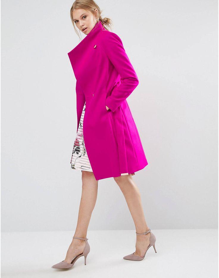 ted baker aurore long wrap collar coat in pink at asos com
