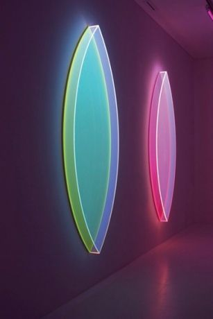 German-born painter Schumann puts fluorescent and photo luminescent acrylic materials to inventive 2-D use, with nods to the plastic severity of Dan Flavin or the neon tastes of Lynda Benglis. — RS