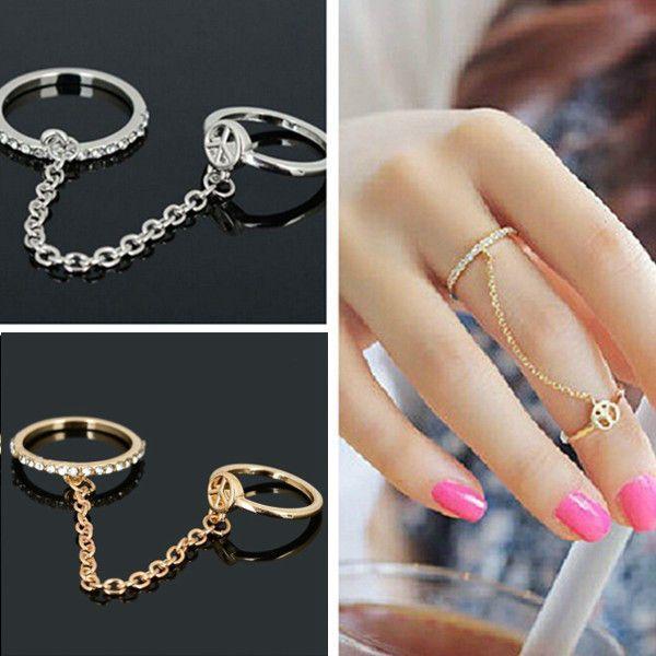tuscompras - Anillo de dedo doble delgada cadena de plata del Rhinestone de oro del amor de la paz ID(954591)