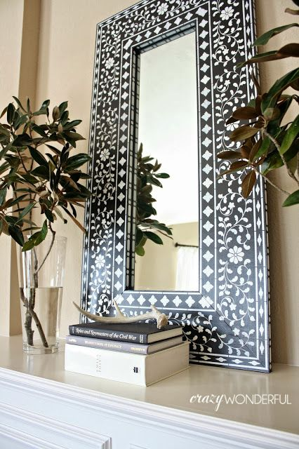 DIY inlay mirror using stencils