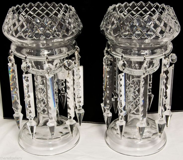 Pair Of Antique Bohemian Crystal Mantle Lustres With Large
