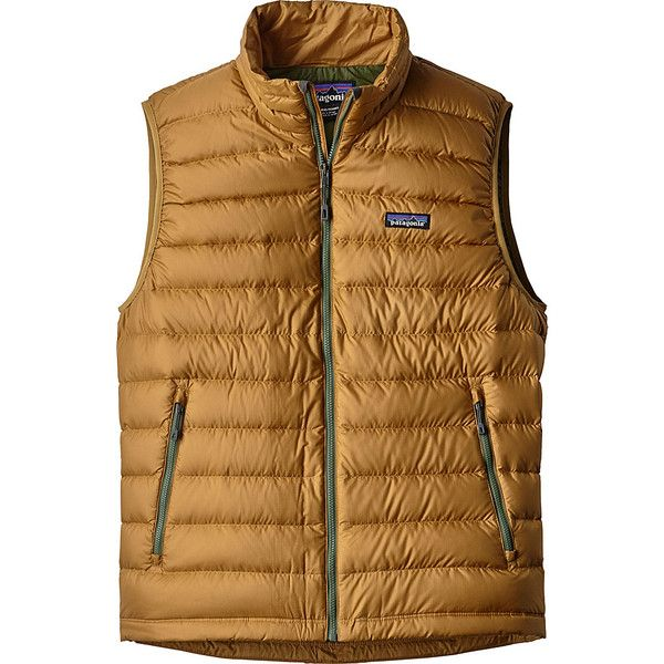 Patagonia Mens Down Sweater Vest - S - Oaks Brown w/Buffalo Green -... ($179) ❤ liked on Polyvore featuring men's fashion, men's clothing, men's outerwear, men's vests, brown, mens vest, patagonia mens vest, mens green vest and mens zip sweater vest