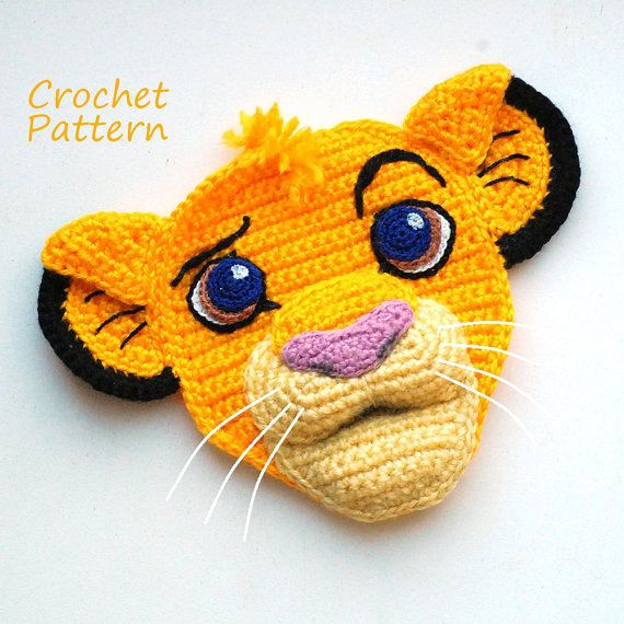 "CROCHET PATTERN ""Danger? Ha, I walk on the wild side. I laugh in the face of danger!"" This is Simba - small Lion King! This crochet applique"